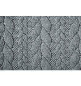 Gebreide kabel stof tricot Grijs