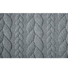 Strickstoff Zopfmuster Jersey Grau