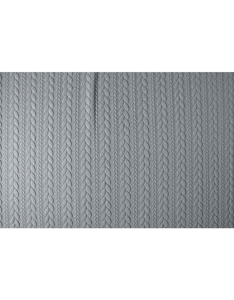 Knitted Cable fabric tricot Grey