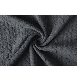 Knitted Cable fabric tricot Dark Grey