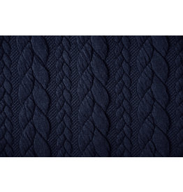 Knitted Cable fabric tricot Navy