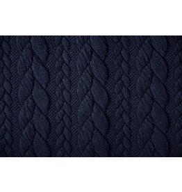 Strickstoff Zopfmuster Jersey Marineblau