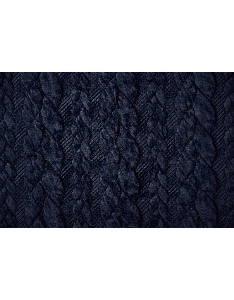 Gebreide kabel stof tricot Marine