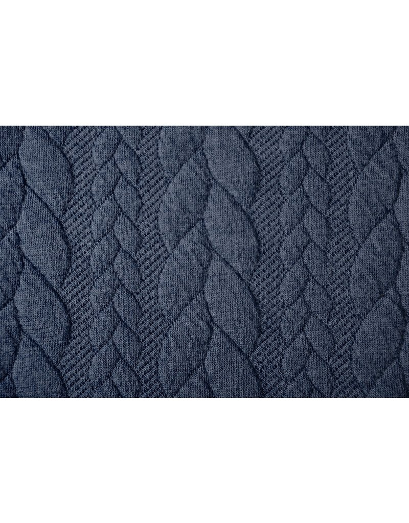 Knitted Cable fabric tricot Dark Jeans