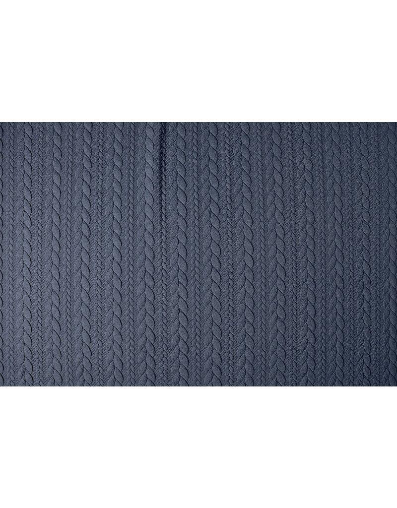 Gebreide kabel stof tricot Donker Jeans