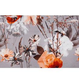 Viskose Jersey Digital Vintage Aquarell Blume Helltaupe