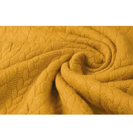 Knitted Cable fabric tricot Dark Ocher