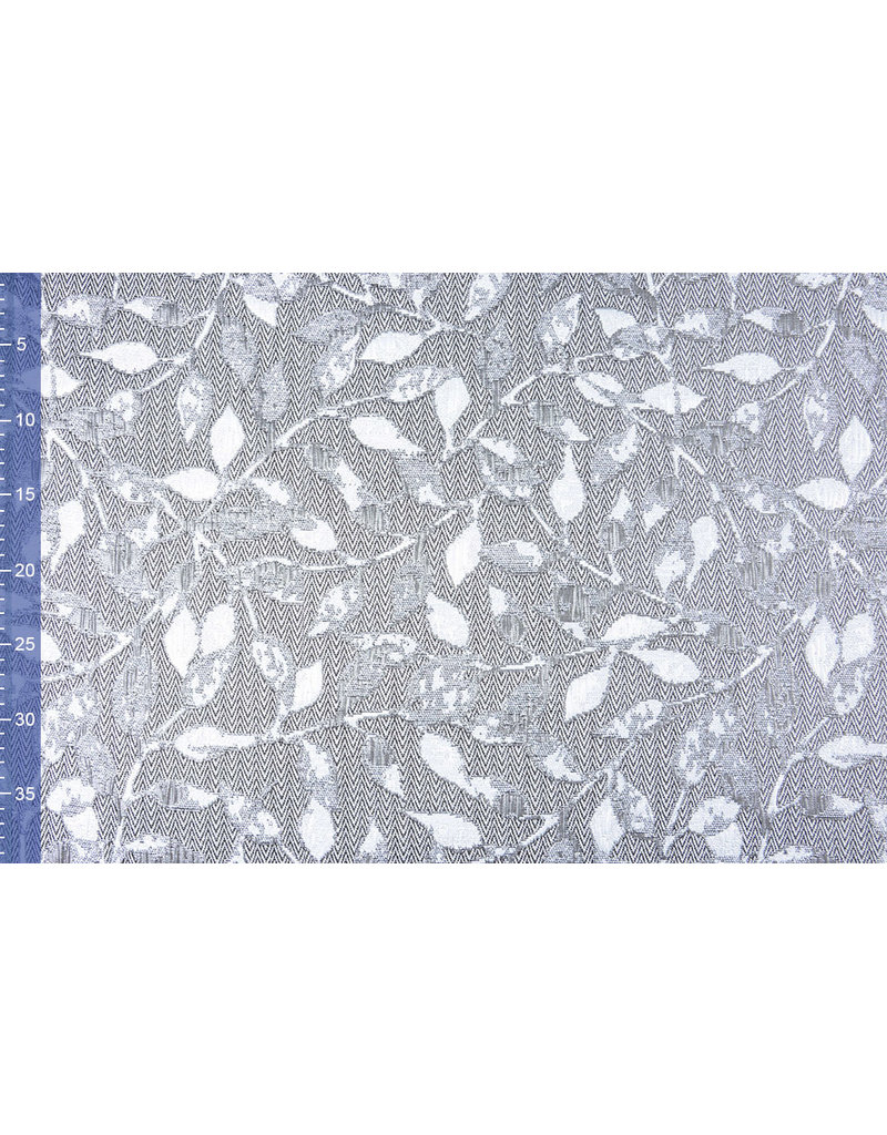 Jacquard Brokat Blätter Silber