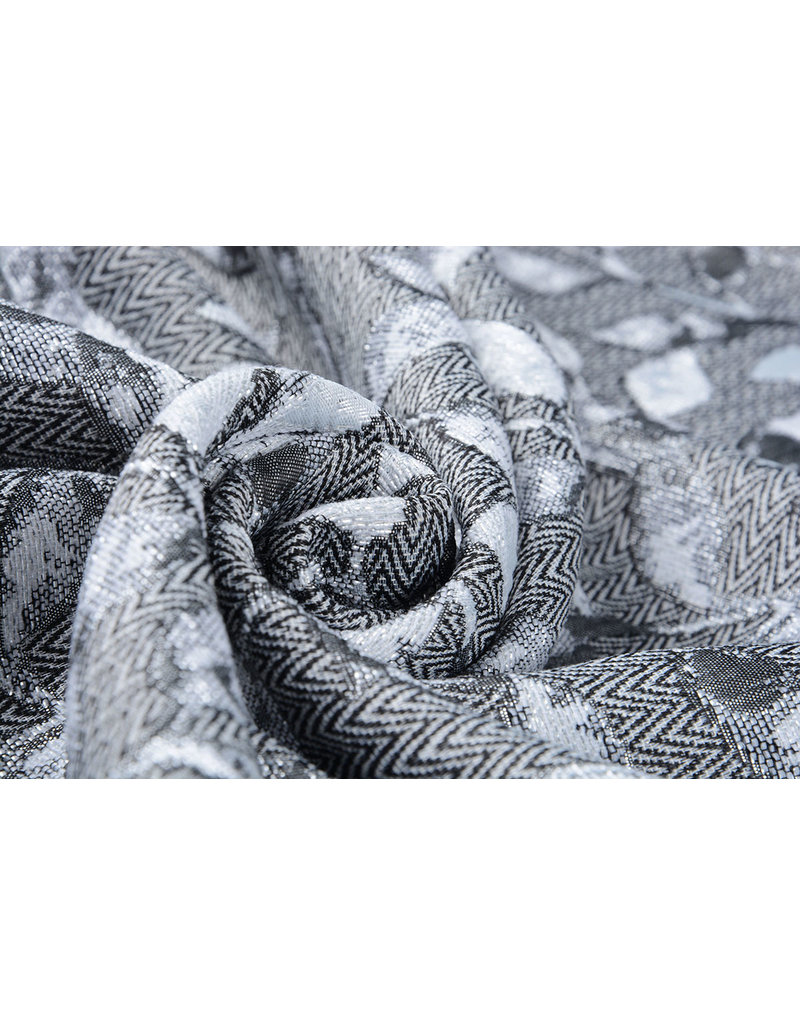 Jacquard Brocade leaves Silver