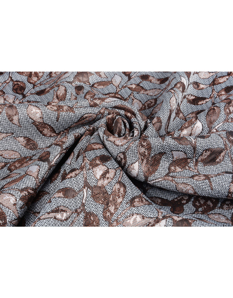 Jacquard Brocade leaves Brique