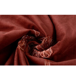 Cotton Corduroy Rib Flower Ribbon Red Brique