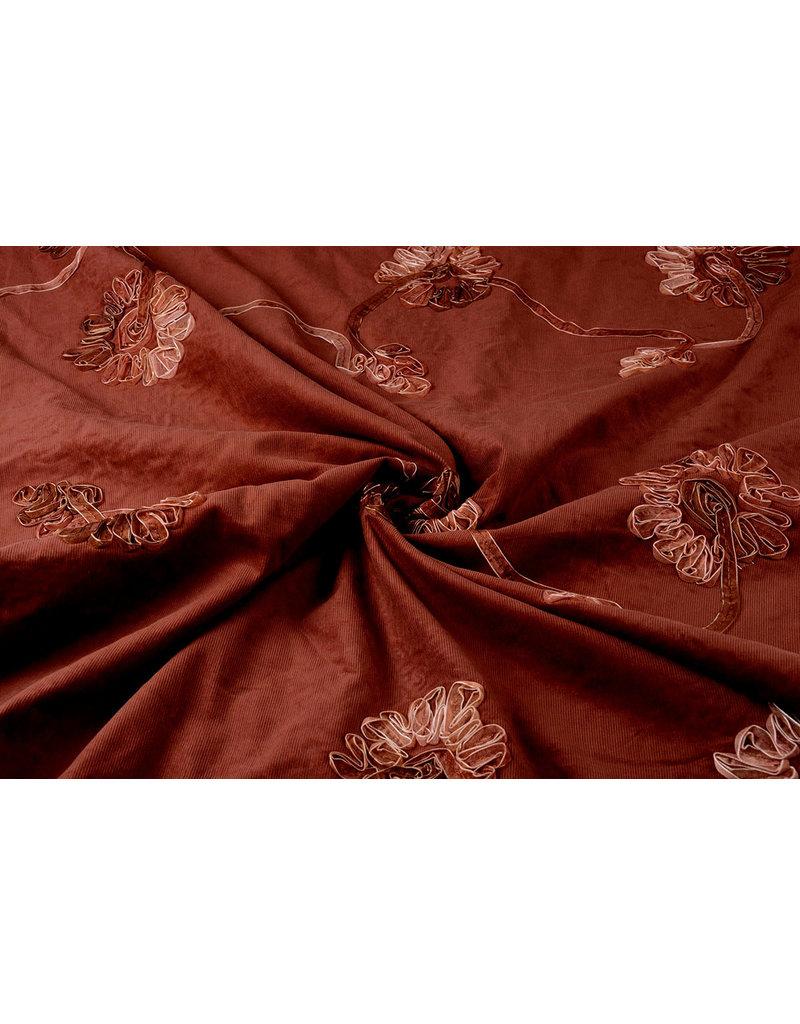 Cotton Corduroy Rib Ribbon Red Brique
