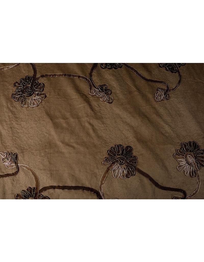 Cotton Corduroy Rib Ribbon Flower Mokka Brown