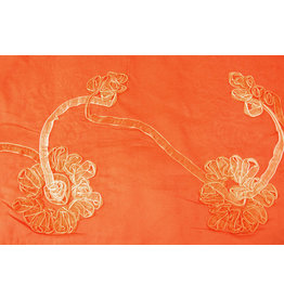 Cotton Corduroy Rib Flower Ribbon Orange