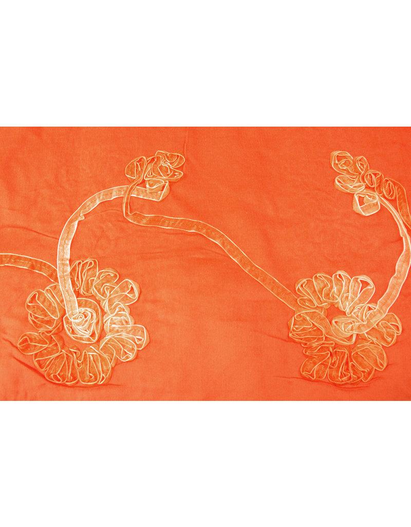 Katoen Corduroy Rib Lint Oranje