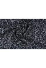 Grof geweven mantelpak stof Bouclé klein Zwart wit