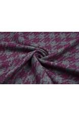 Woolen fabric Pied de Poule Cyclamen-gray