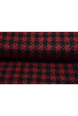 Wollen stof Pied de Poule Rood-Zwart