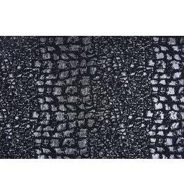 Jacquard Brokaat Reptielprint Zwart Zilver