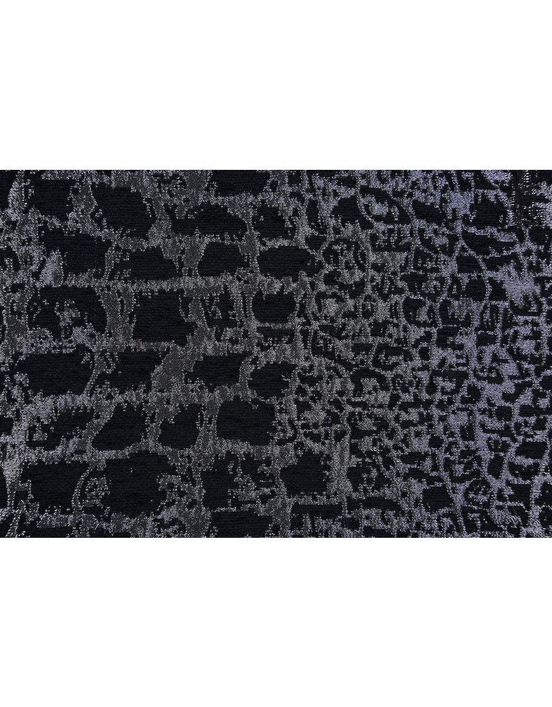 Jacquard Brocade Reptile print Black Silver