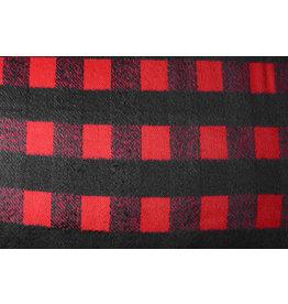 Wollen stof Geruit Rood Zwart