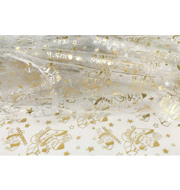 Organza Printed Santa Christmas White-Gold