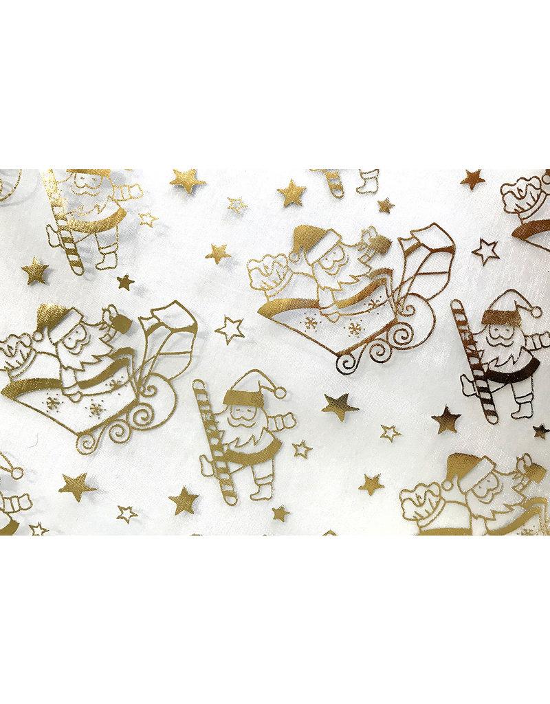 Organza Bedruckt Weihnachtsmann Weißgold