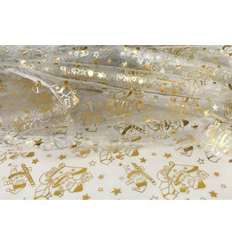 Organza Printed Santa Christmas Cream-Gold