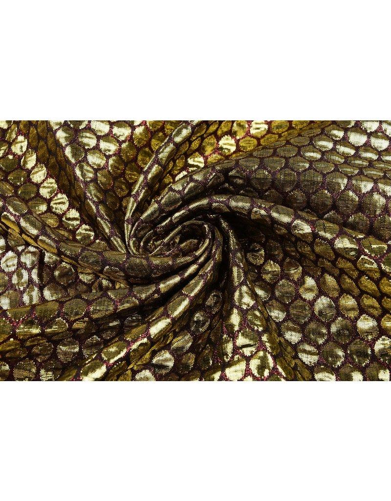 Brokat Großer Dunkelrot Gold