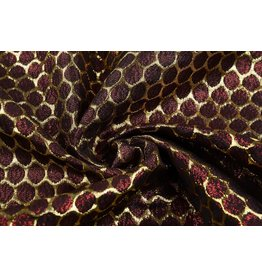 Brocade Large Dot Dark Red Gold