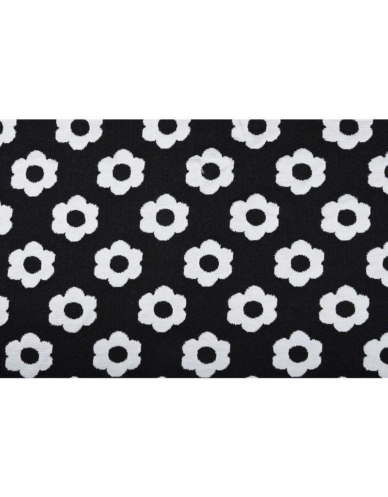 Jacquard Gestrickt Blumen Schwarz Weiß