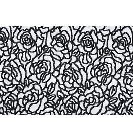 Jacquard knitted Roses Black White