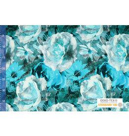 Viscose Jersey Digital Aquarell Sonnenblume Aqua