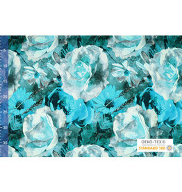 Viscose Jersey Digital Watercolor Sunflower Aqua