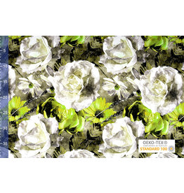 Viscose Jersey Digitaal Watercolor Zonnebloem Groen