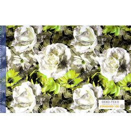 Viscose Jersey Digital Watercolor Sunflower Green