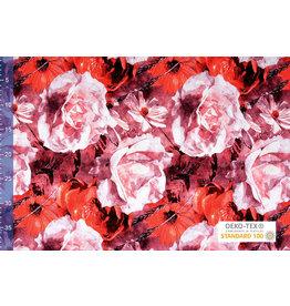 Viscose Jersey Digitaal Watercolor Zonnebloem Rood