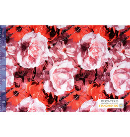Viscose Jersey Digital Watercolor Sunflower Red