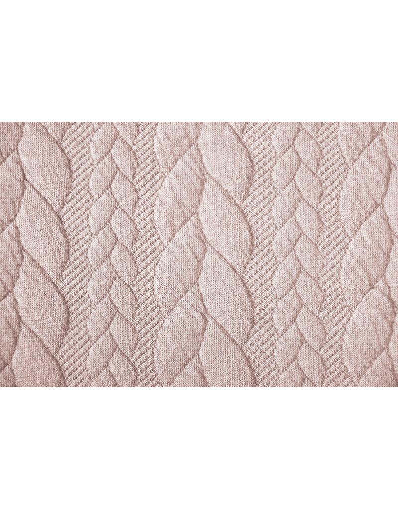 Gebreide kabel stof tricot Poeder Roze