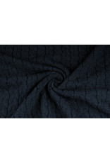 Melange Knitted Cable fabric tricot Blue