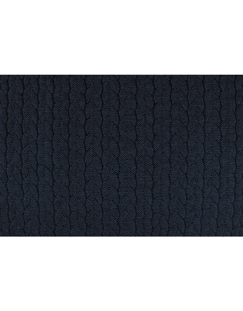 Melange Gebreide kabel stof tricot Blauw