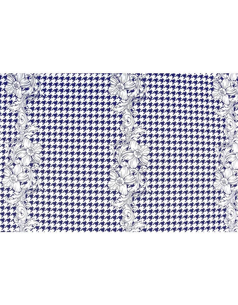Scuba Pique houndstooth Flower Blue White