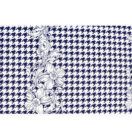 Scuba Pique Pied-de-poule Bloem Blauw Wit