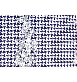 Scuba Pique Pied-de-poule Blume Blau Weiß