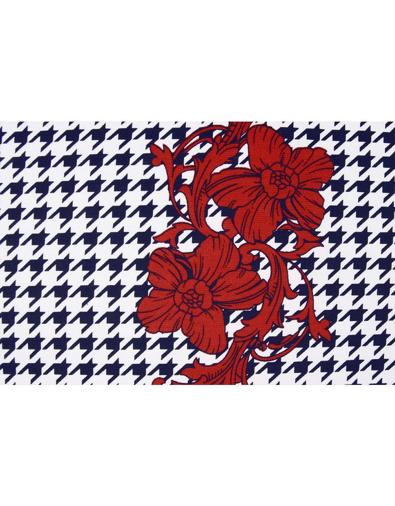 Scuba Pique houndstooth Flower Red Navy