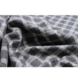 Knitted Checkered  Small Berlia Gray White