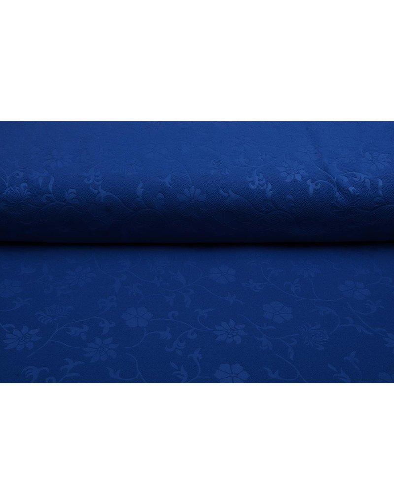 Scuba Emboss Bloem Kobalt Blauw