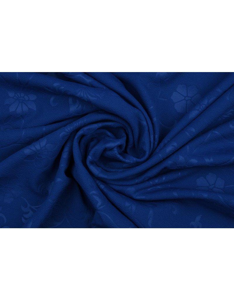 Scuba Emboss Blume Kobalt Blau