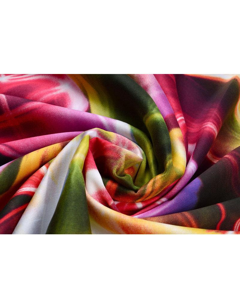 100% Viscose Digitaal Print Neon Roze Groen
