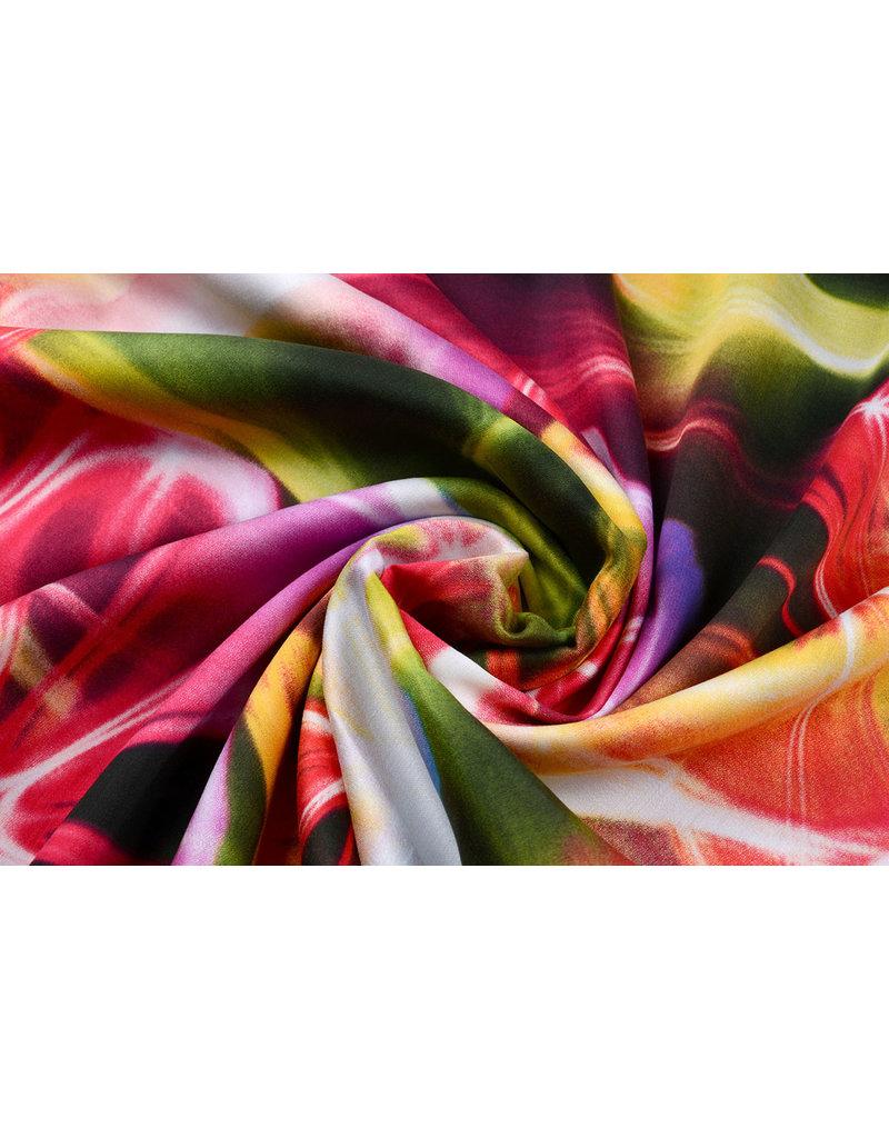 100% Viskose Digital Printed Neon Pink Grün